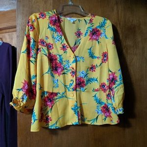 Express floral blouse yellow medium